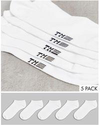 TOPMAN - Confezione da 5 paia di calzini sportivi bianchi - Lyst