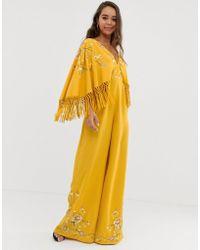 f2173b602ab ASOS - Kimono Sleeve Fringe Embroidered Jumpsuit - Lyst