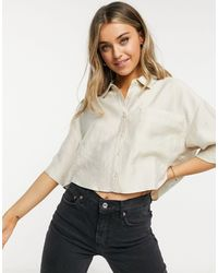 Pull&Bear Oversized Short Sleeve Shirt - Natural