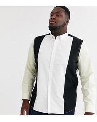 ASOS Plus - Chemise stretch oversize à empiècements style 90s - Noir