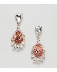 True Decadence - Pink Diamante Drop Earrings - Lyst