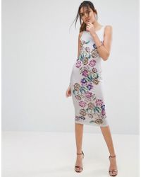 ASOS   Placed Floral Strappy Back Pinny Midi Bodycon Dress   Lyst