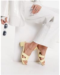 London Rebel Wide Fit Mid Heeled Mules - Yellow