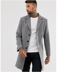 ASOS Серое Полушерстяное Пальто - Серый