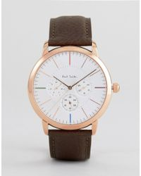 Paul Smith - P10112 Ma Chronograph Leather Watch In Brown - Lyst