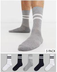ASOS 5 Pack Sports Style Socks - Gray