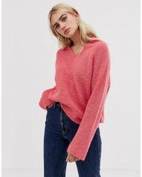 Mango - V Neck Jumper In Pink - Lyst