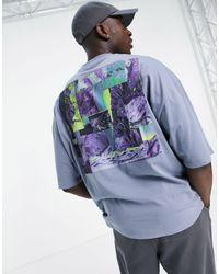 ASOS Camiseta azul extragrande con panel
