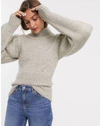 TOPSHOP – Nerzfarbener Pullover mit Ballonärmeln - Mehrfarbig