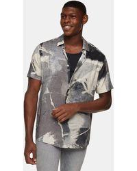 TOPMAN Concrete Print Slim Shirt - Grey