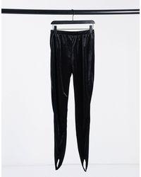 Noisy May Velvet leggings With Stirrup - Black