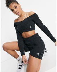 adidas Originals Relaxed Risqué Fluffy Knit legging Shorts - Black