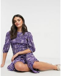 Y.A.S Midi Dress With Shirred Detail And Puff Sleeve - Purple