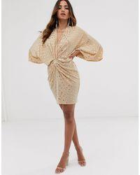 Flounce London Glitter Twist Front Mini Dress - Pink