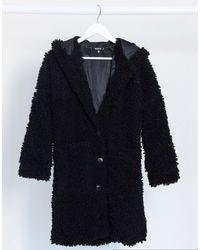 Missguided Черное Пальто Из Искусственного Меха С Капюшоном -черный Цвет