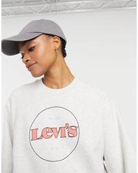 Levi's Серый Свитшот С Рукавами Реглан И Логотипом В Круге