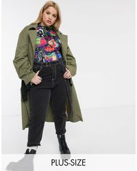 Collusion Plus Exclusive Trench Coat - Green