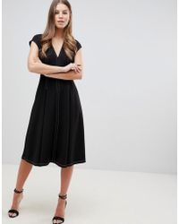 ASOS DESIGN - Fit And Flare Midi Dress With Contrast Stitching - Lyst
