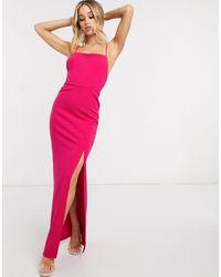 Club L London Приталенное Платье Макси Цвета Фуксии С Разрезом И Квадратным Вырезом Club L-розовый