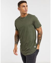 Jack & Jones Essentials Longline T-shirt With Curve Hem - Green