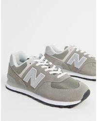 New Balance Темно-серые Замшевые Кроссовки 574-серый