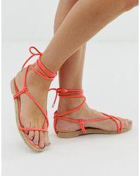 SIMMI Shoes Simmi London Hira Coral Toe Loop Espadrille Sandals - Orange