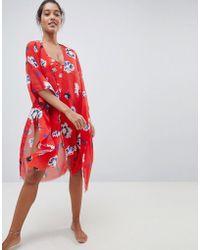 Vero Moda Caftan fleurs - Rouge