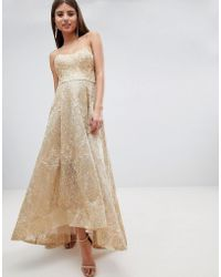 Bariano - High Low Bandeau Maxi Dress In Metallic Jacquard - Lyst