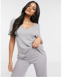 Missguided T-shirt And Flared Trouser Set - Grey