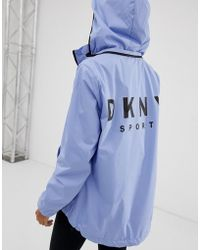 DKNY Convertible Hood Jacket With Oversized Logo - Blue