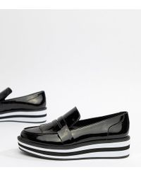 Monki Stripe Platform Loafer In Patent Black
