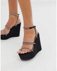 Tantalize mit Verzierte und schwarze Schuhe Keilabsatz Zehenschlaufe P8ONkn0wX