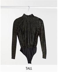 Missguided Tall Black Velvet Glitter Pinstripe Bodysuit