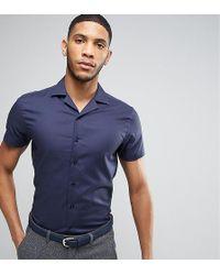 Noak Slim Shirt With Revere Collar In Texture - Blue