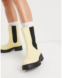 Monki Maddie Faux Leather Chunky Sole Boot - Yellow