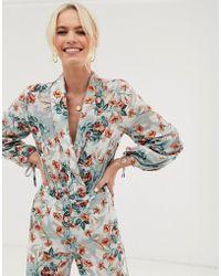 UNIQUE21 Floral Plunge Bodysuit - Multicolor