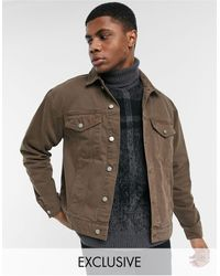 Reclaimed (vintage) - Коричневая Джинсовая Куртка С Состаренным Эффектом Inspired-коричневый Цвет - Lyst