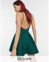 True Violet Exclusive Backless Skater Mini Dress - Green