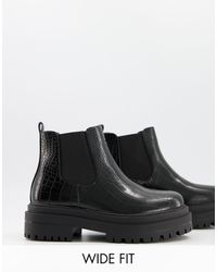 Raid Wide Fit - Черные Ботинки Челси На Массивной Подошве Для Широкой Стопы Ronnie-черный Цвет - Lyst