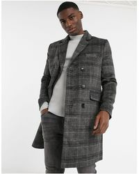 French Connection Double Breasted Check Overcoat - Gray