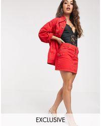 Liquor N Poker Western Denim Skirt Co-ord - Red