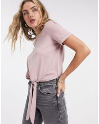 Object Stephanie Tie Front Jersey T-shirt - Pink
