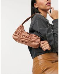 Monki Tanya Recyled Satin Shoulder Bag - Brown