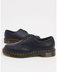 Dr. Martens Черные Туфли На Плоской Подошве С 3 Люверсами Vegan 1461-черный