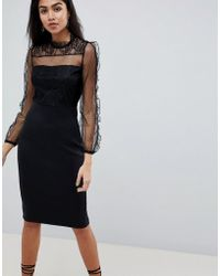AX Paris - Long Sleeve Bodycon Dress With Mesh Sleeves - Lyst