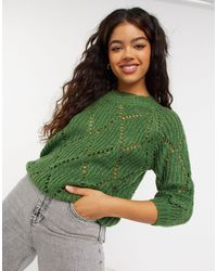 Blend She Crew Neck Knitted Sweater - Green