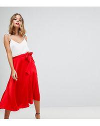 ASOS - Asos Design Petite Satin Midi Skirt With Self Belt - Lyst