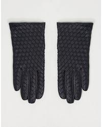 ASOS Черные Кожаные Перчатки Для Сенсорных Экранов С Плетеным Узором - Черный