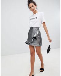 Glamorous Metalic Asymmetric Frill Skirt - Metallic