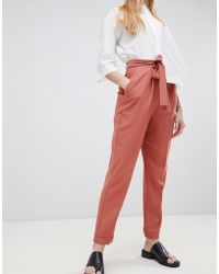 ASOS DESIGN - Woven Peg Trousers With Obi Tie - Lyst